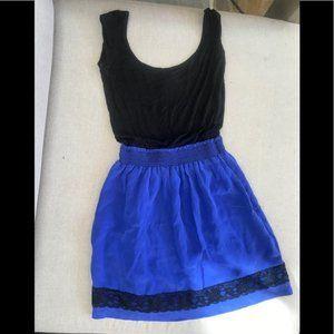 100% silk eight sixty mini dress cobalt blue